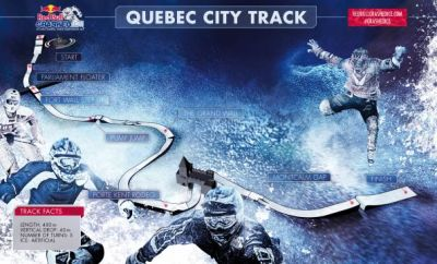 Der Ice Cross Downhill Track in Quebec.